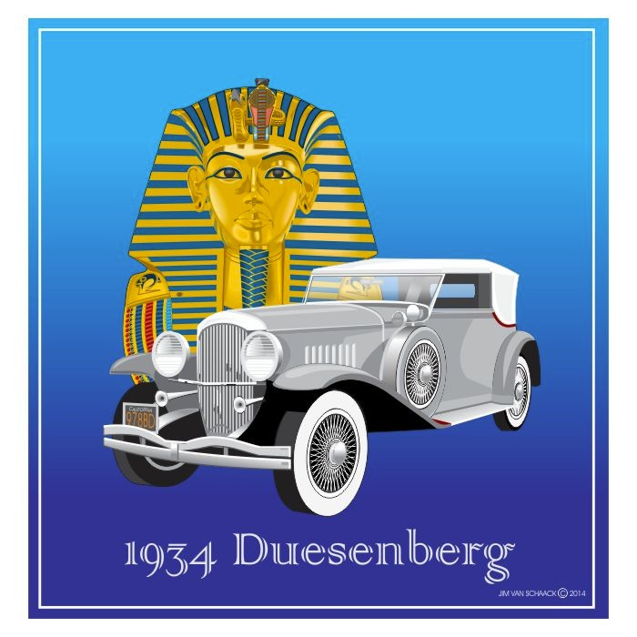 1934 Gray Duesenberg with King Tut
