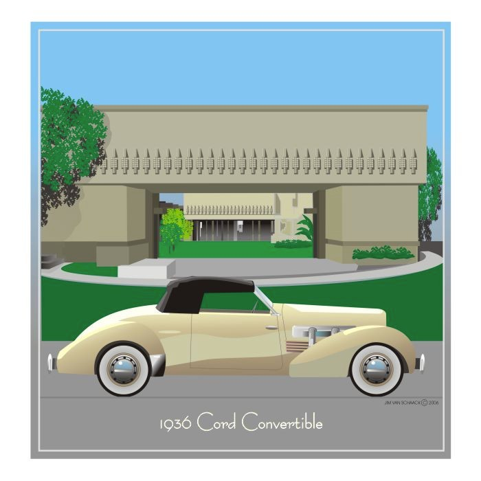 1936 Cord Convertible at the Hollyhock House
