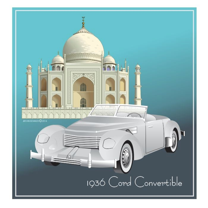1936 Cord Convertible at at the Taj Mahal