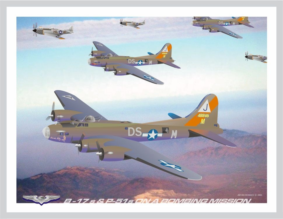 B-17s & P-51s on a Bombing Mission